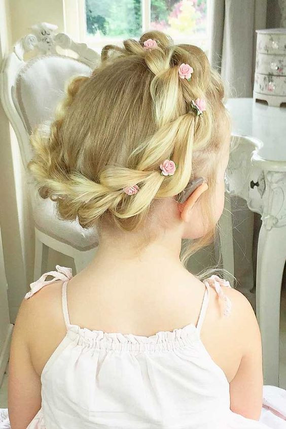 Rose Bun Hairstyles for Little Girls
