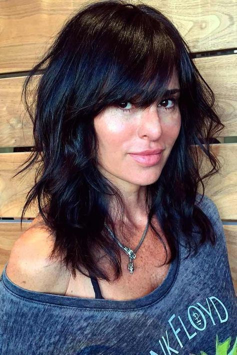 Feathered Bangs Medium Length Hairstyle for Women