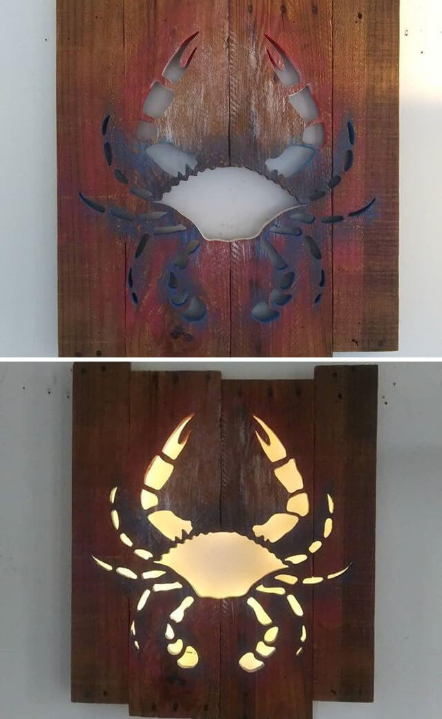 Pallet glowing crab art