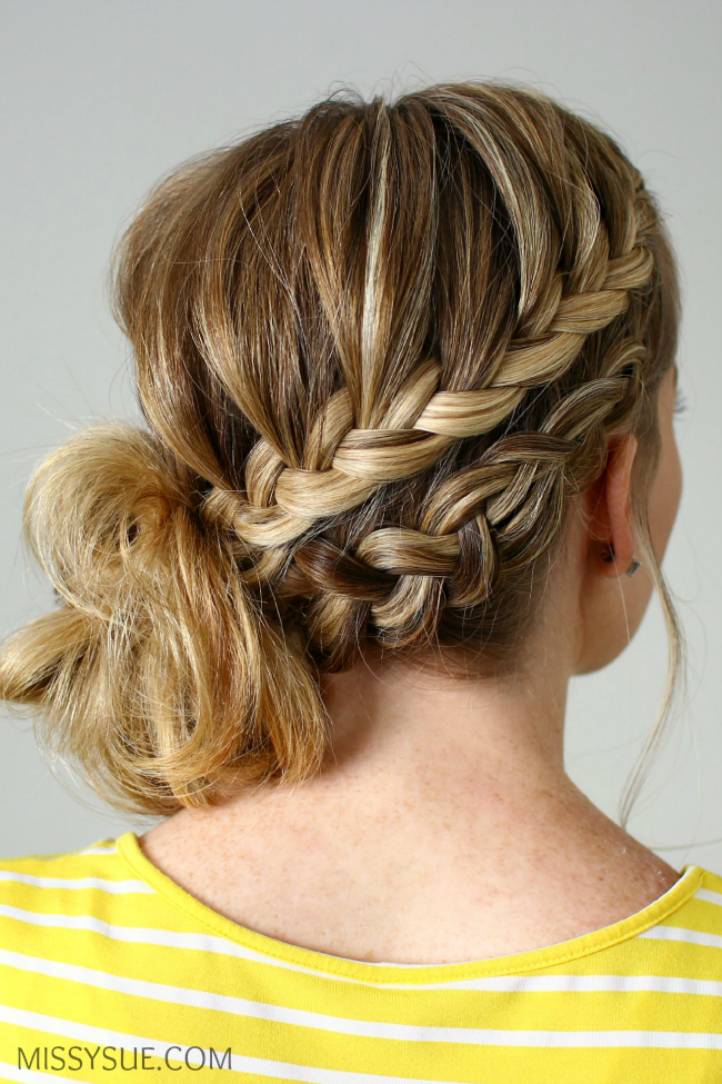 French Braid Low Chignon Braided Hairstyles for Women