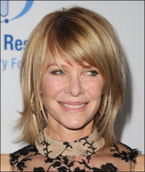 Choppy Blonde with Long Side Bangs Hairstyles for Older Women