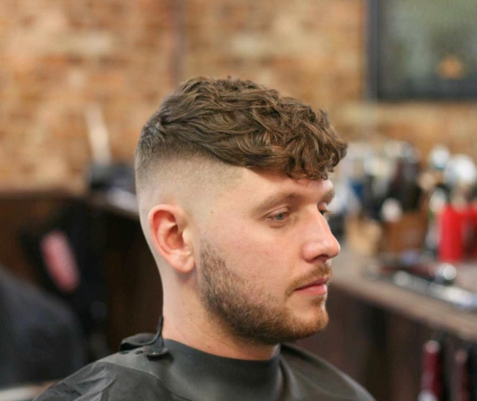 High Fade With Wavy Medium Length Hairstyles for Men
