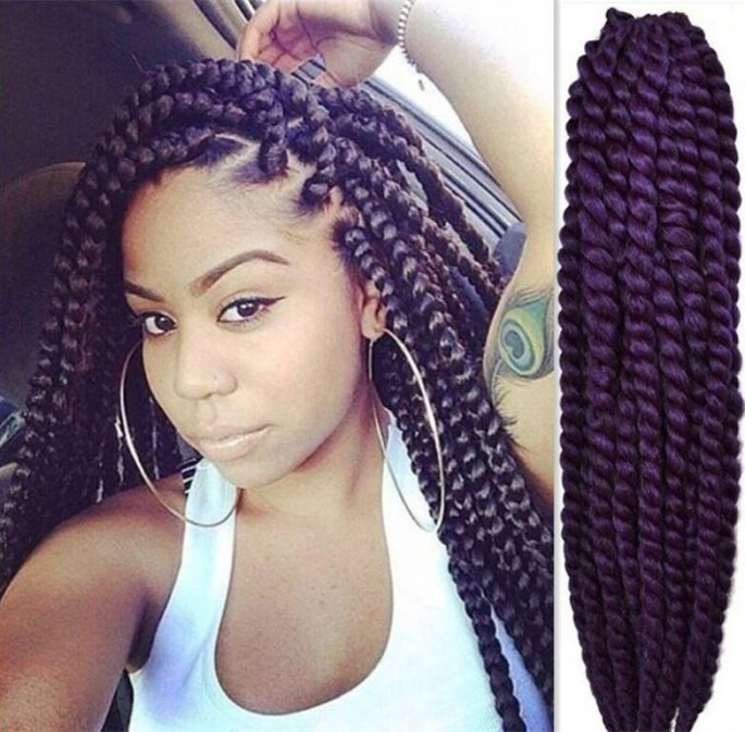 Short Deep Purple Crochet Braid Hairstyles for Women