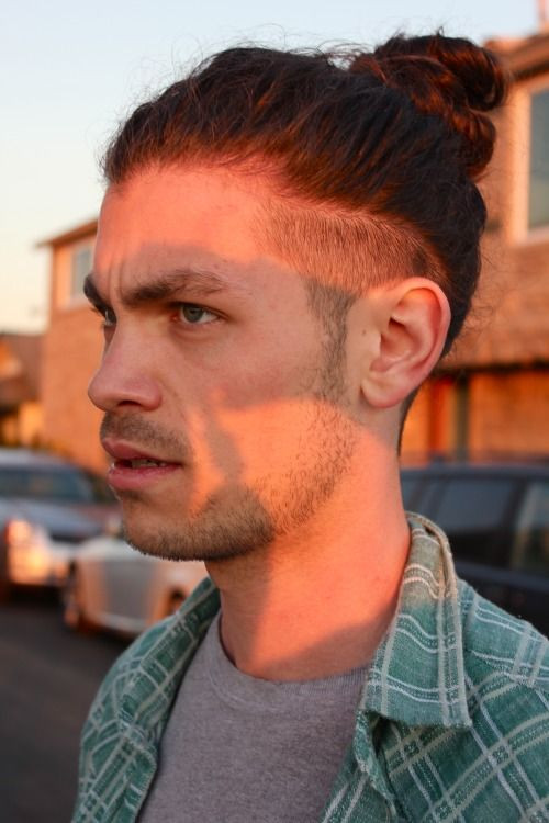 Top Ponytail with Shaved Sides Medium Length Hairstyles For Men