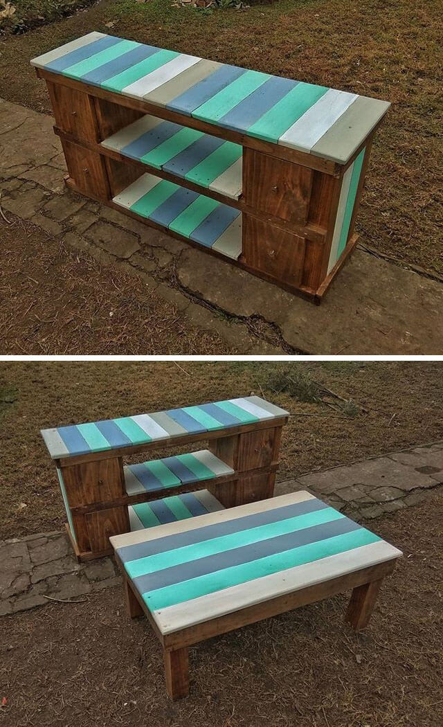 ... Pallet Stools Or Pallet Tables In Your Home. You Can Use Paint Of Two  Or More Colors In Order To Make Stripes Of These Colors In Alternative  Fashion.