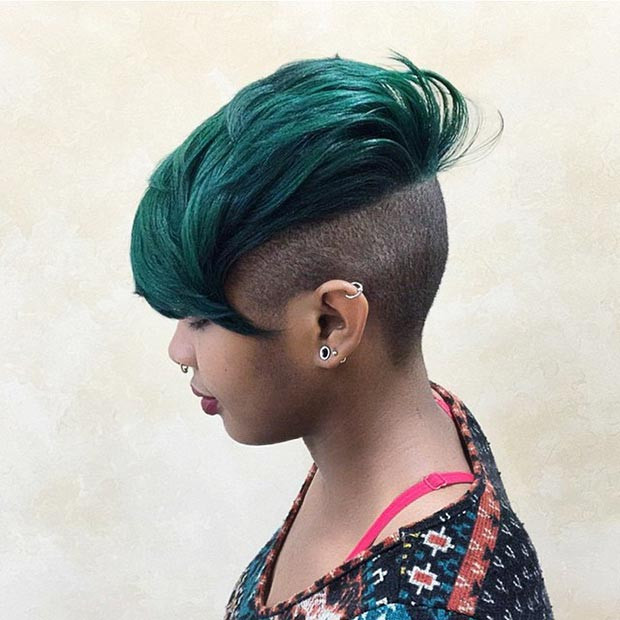 Grey Mohawk with Shaved Sides for Black Women