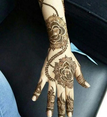 backhand with arms mehndi design ideas