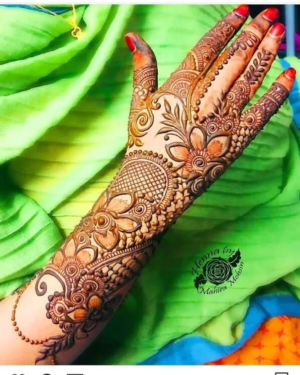 full backhand and arms henna designs