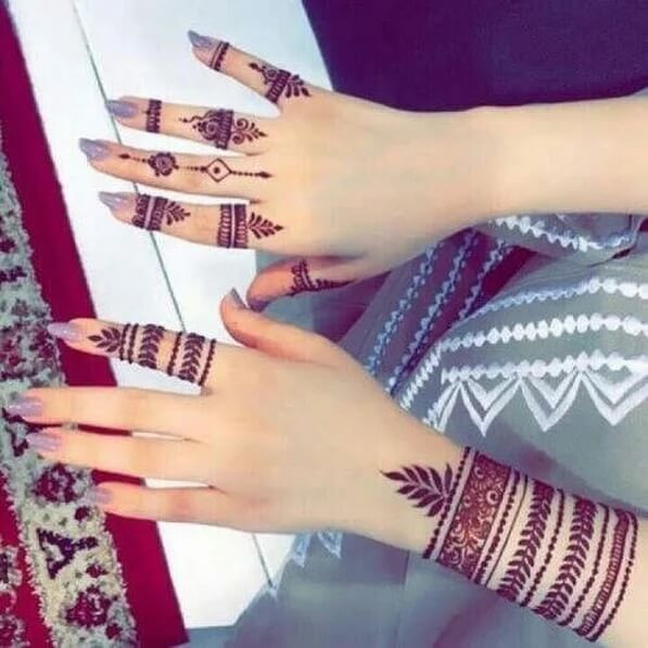 simple finger and kalai mehndi designs