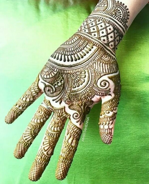 Full front hand henna designs