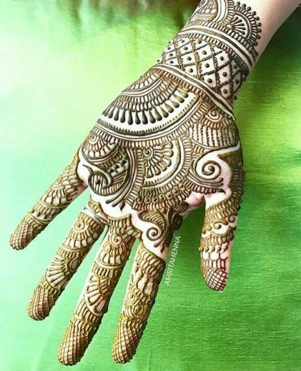 Full front hand henna designs