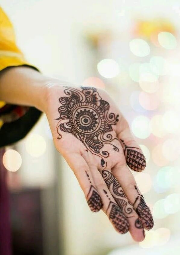 Round Motif Henna Designs for front Hand