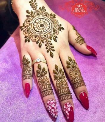 Flower Tikka Mehndi Design for Inner Hands