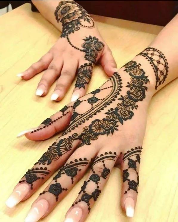 Shimmer backhand Henna Designs for girls