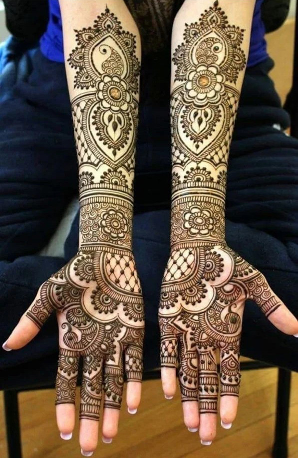 Shimmer front hands with arms Henna Designs for girls