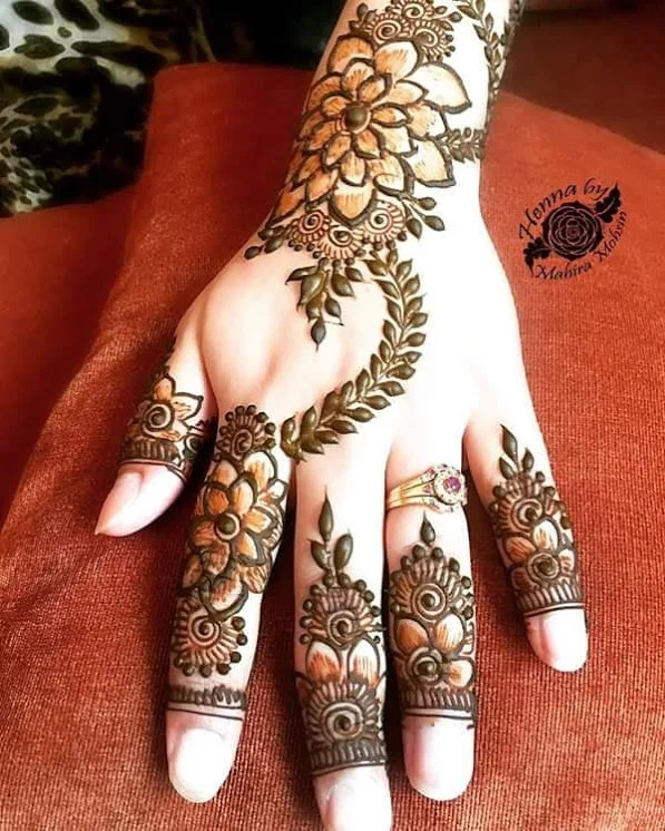 Leaves Henna designs for young girls