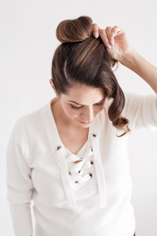 Ear Buns Hairstyles For Medium hair