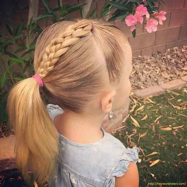 Ponytail and Braid Mix Hairstyles for Little Girls