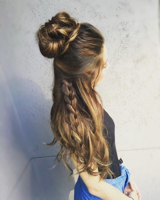 Half-up Messy Bun Long Hairstyles For Women