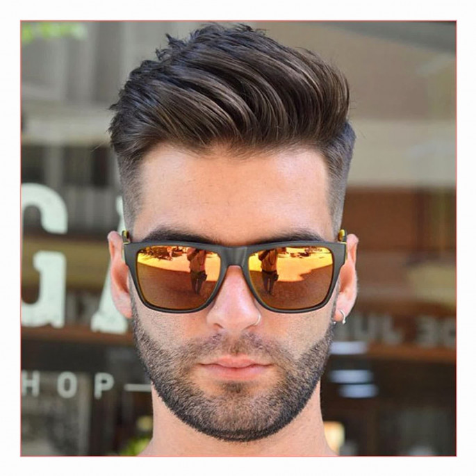 Comb Over + Taper Fade Medium Length Men's Hairstyles