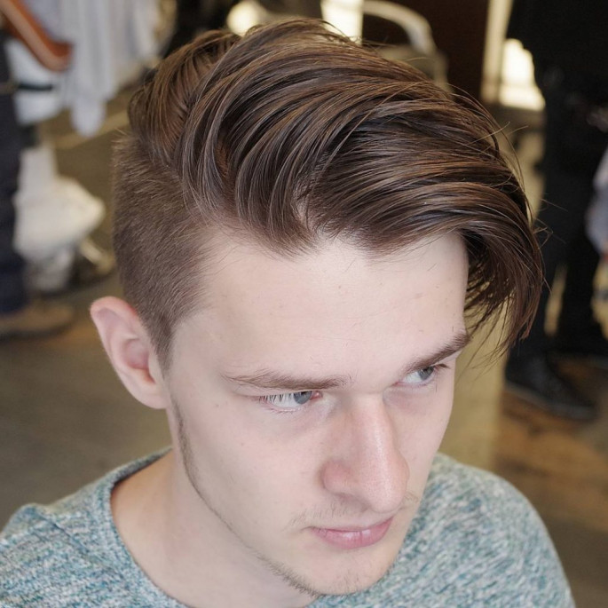 Undercut+ Messy Comb Over Fade Medium Length Men's Hairstyles