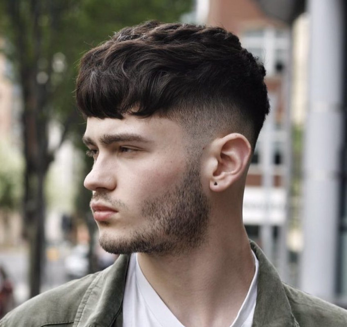 Textured Crop Heavy Fringe Medium Length Hairstyles for Men