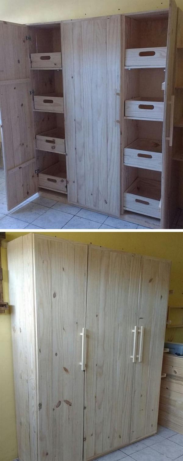 Pallet wardrobe cabinets