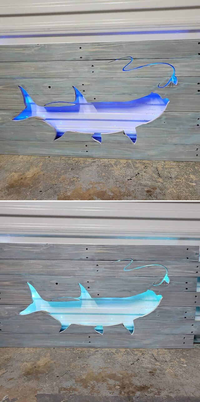 Pallet glowing fish art