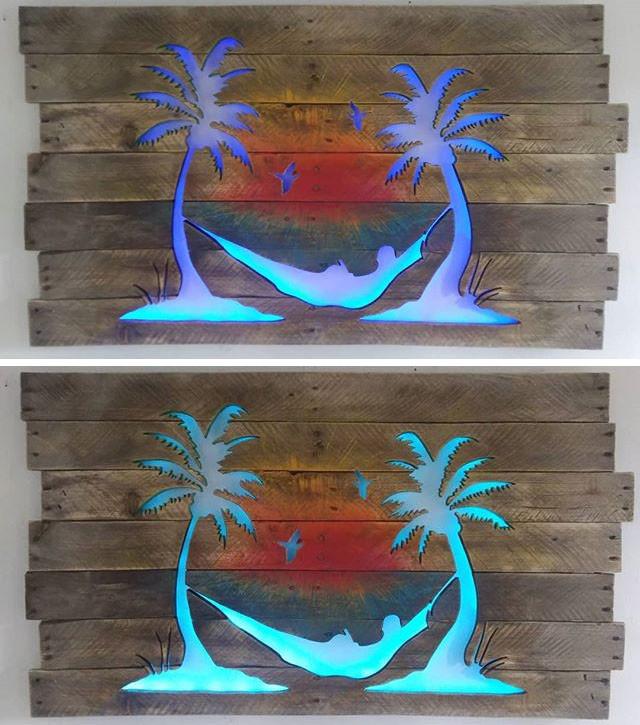 Pallet glowing tree wall art