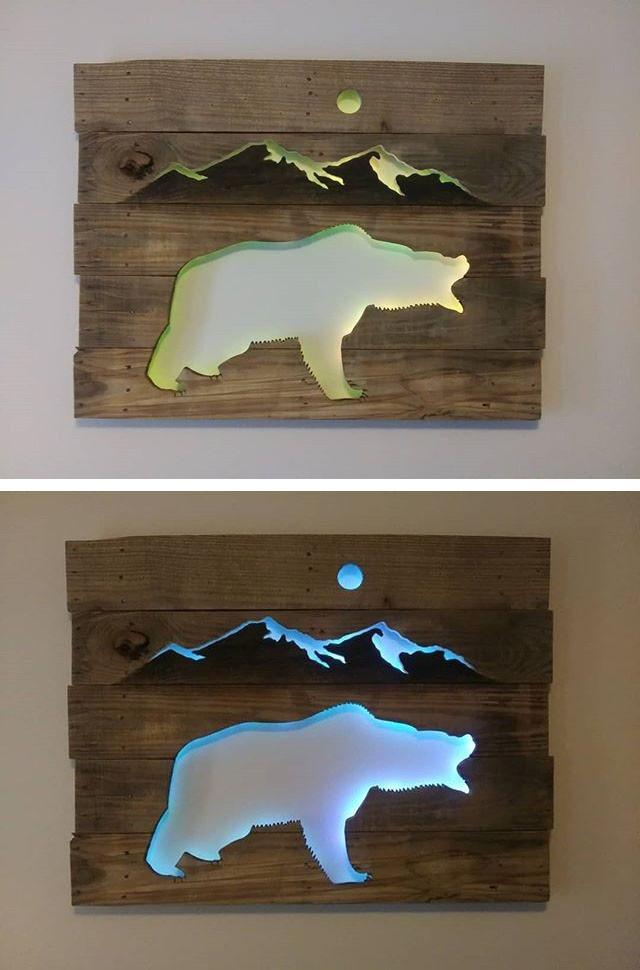 Pallet glowing bear wall art
