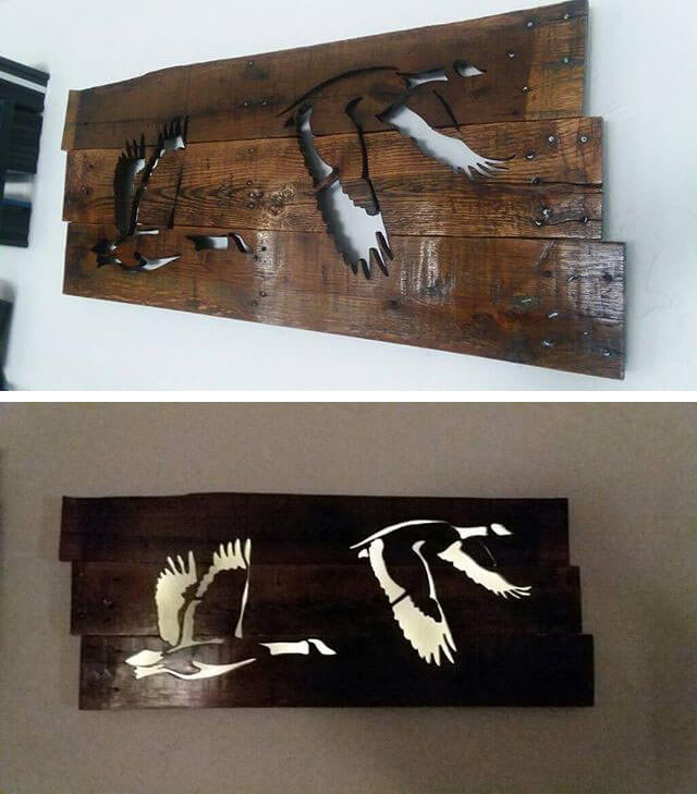 Pallet Glowing Birds Shelf Art