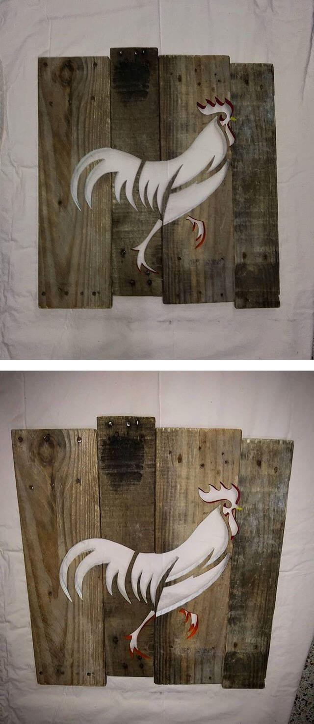 Pallet Glowing Cock Shelf Art