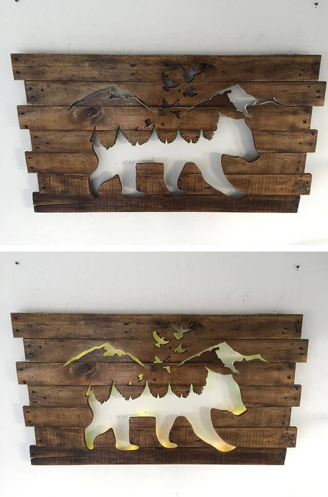 Pallet Glowing Animal Shelf Art