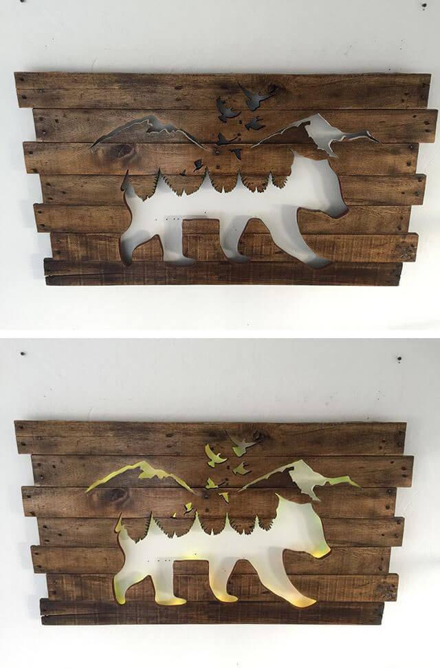 Pallet Glowing Animal Shelf Art