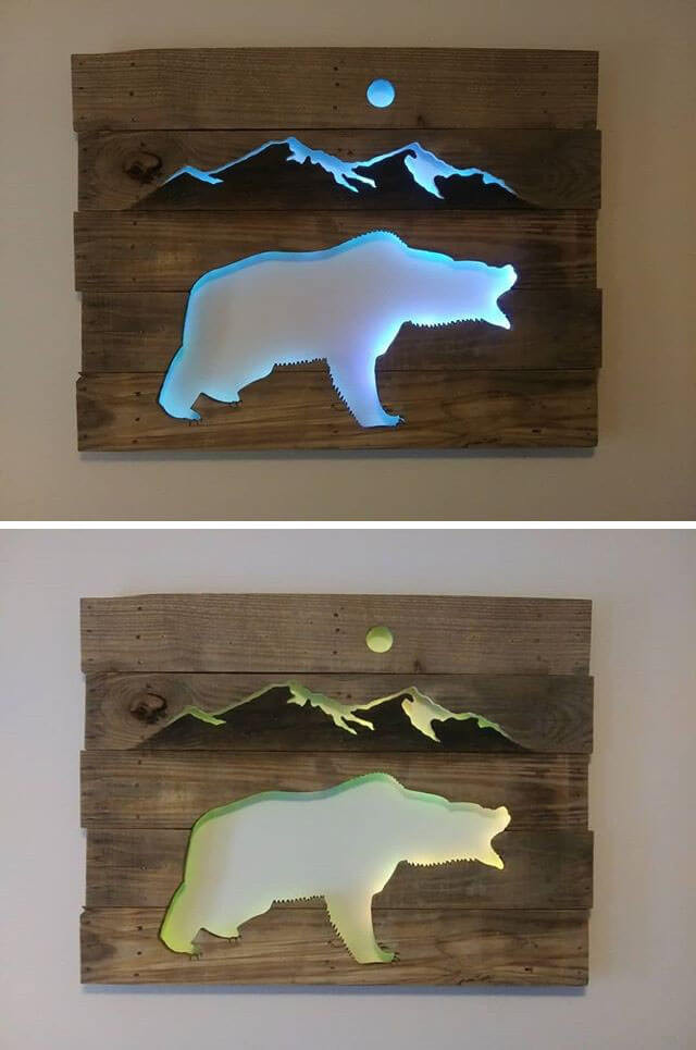 Pallet Glowing Bear Shelf Art