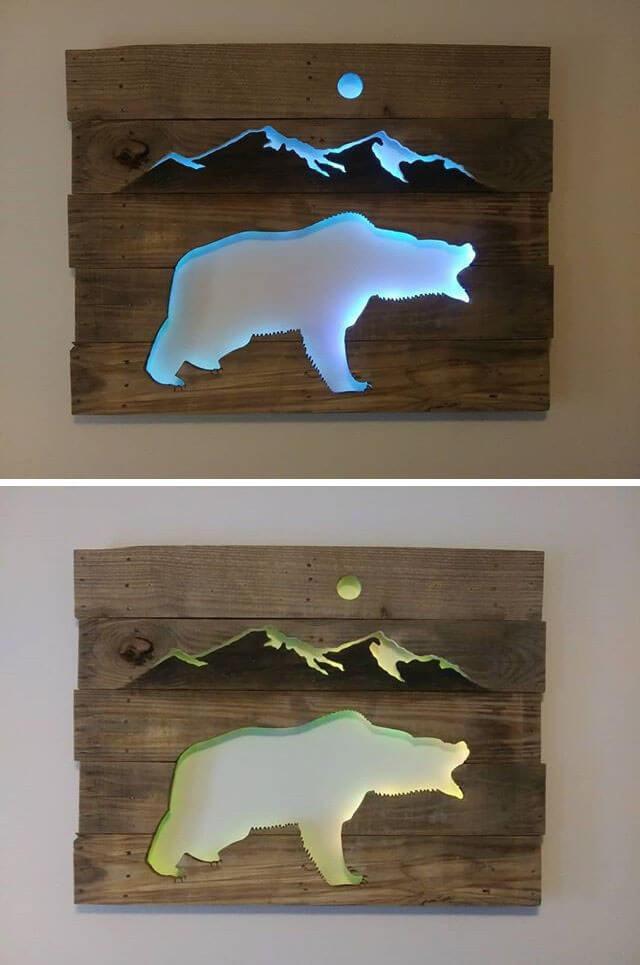 Pallet Glowing Bear Shelf Art