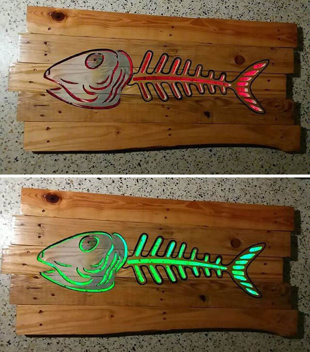 Pallet Glowing Fish Shelf Art