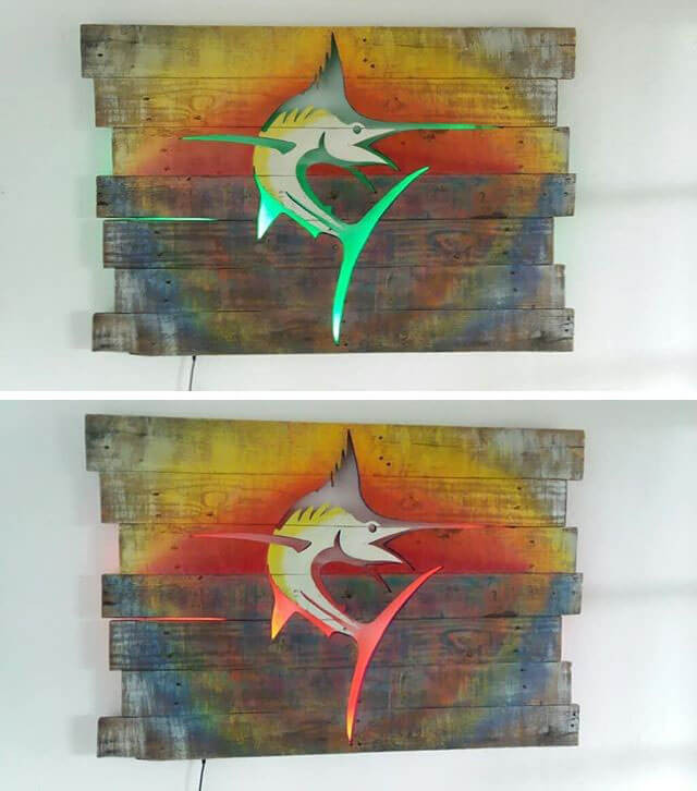 Pallet Glowing swordfish Shelf Art