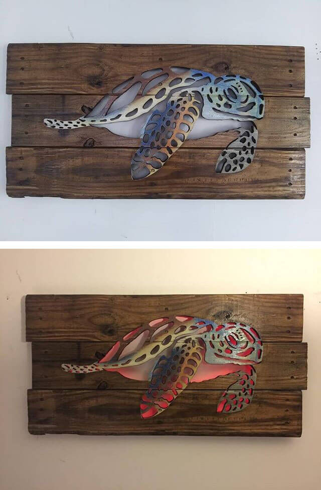 30+ Best Pallet Glowing Wall Shelf Art