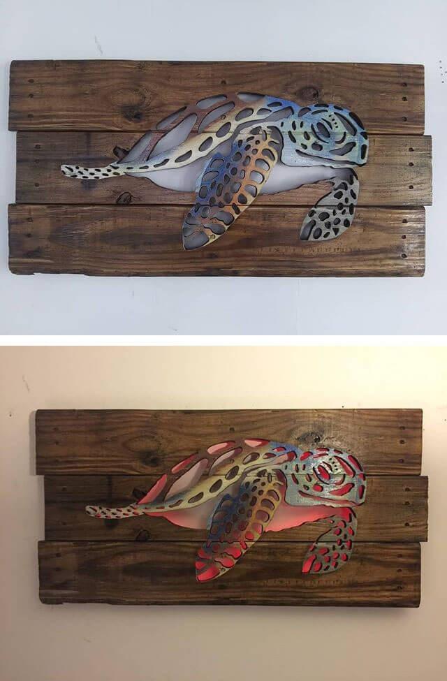 30+ Best Pallet Glowing Wall Shelf Art