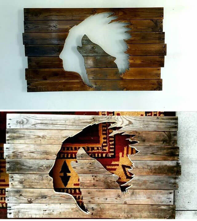 Pallet Glowing wolf Shelf Art