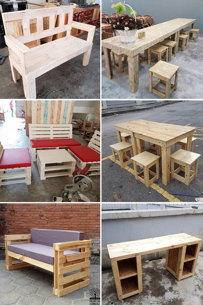 Artistically Crafted Pallet Tables And Couches