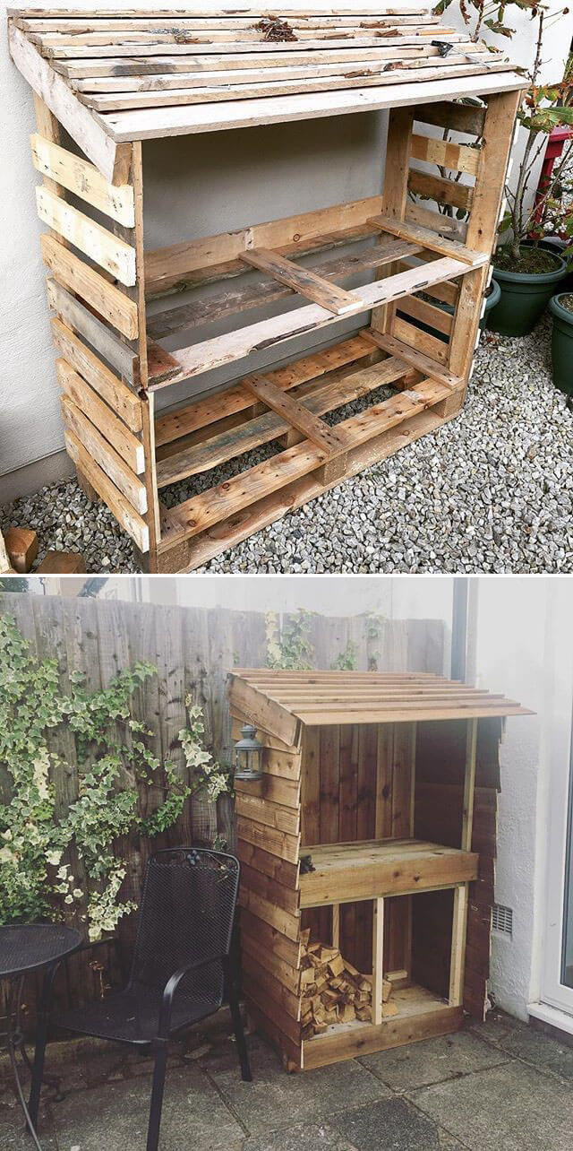 Pallet shed for wood storage