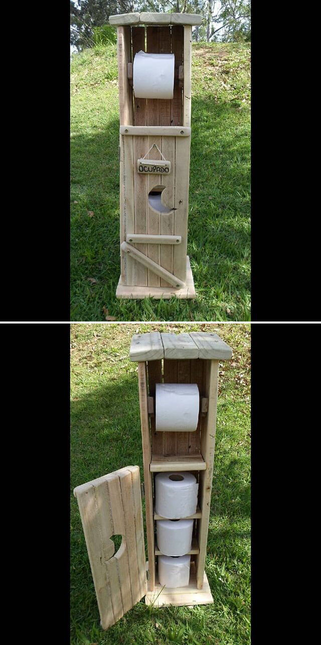 Pallet toilet paper shelf
