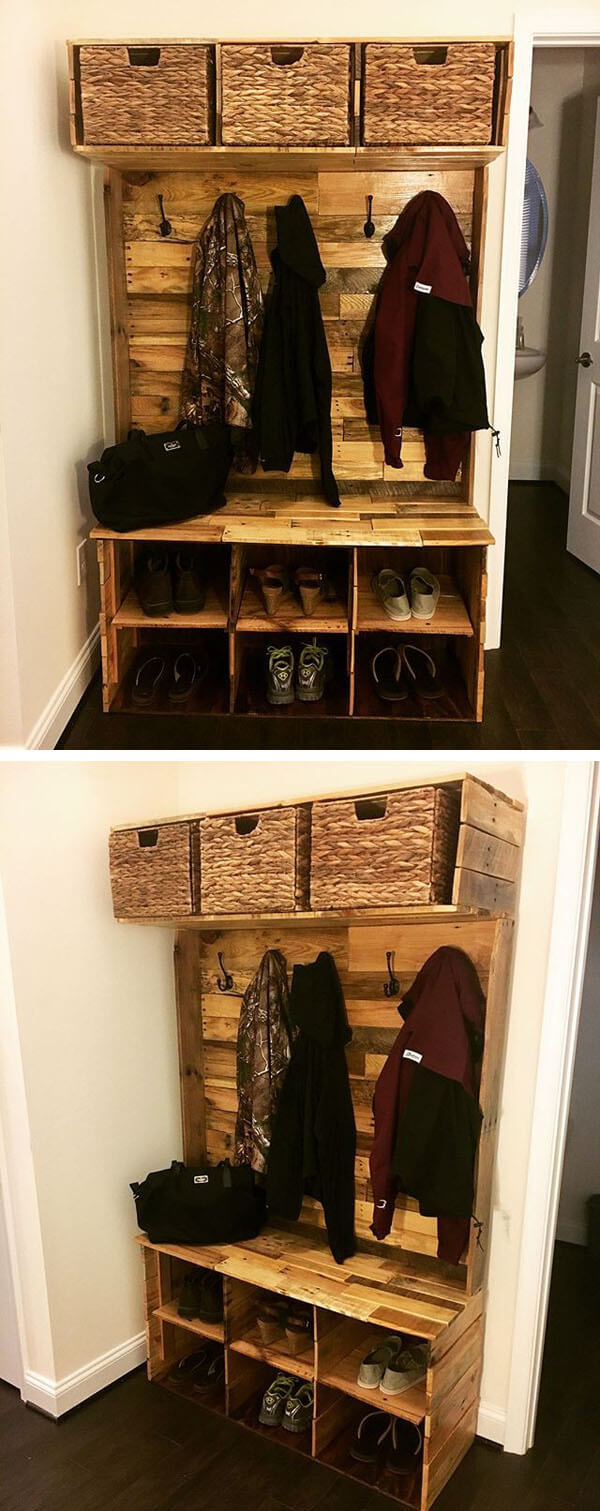 Pallet wall with storage box