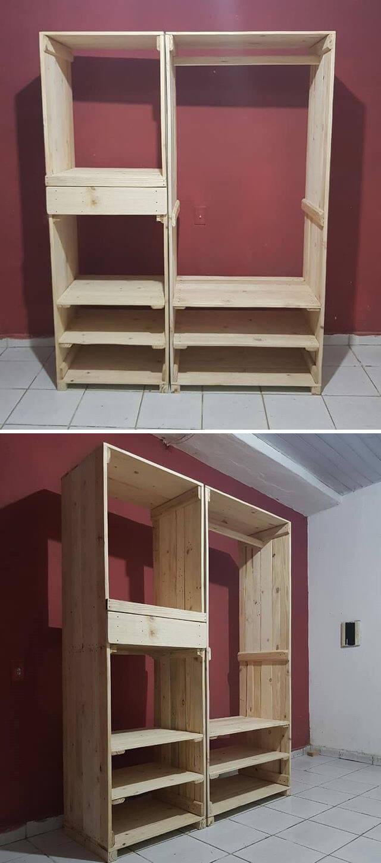 Pallet shelf wardrobe