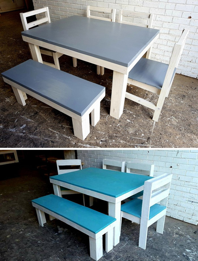 Pallet table ideas with chairs and stool set