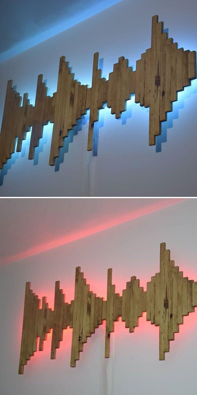 Pallet glowing shelf art