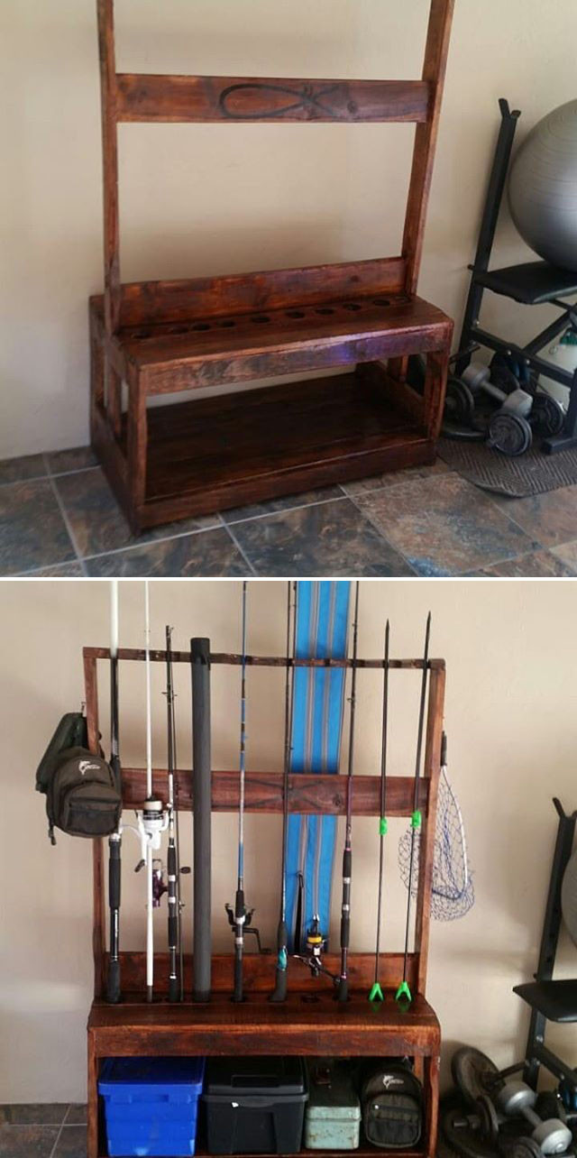 Pallet fishing rod table