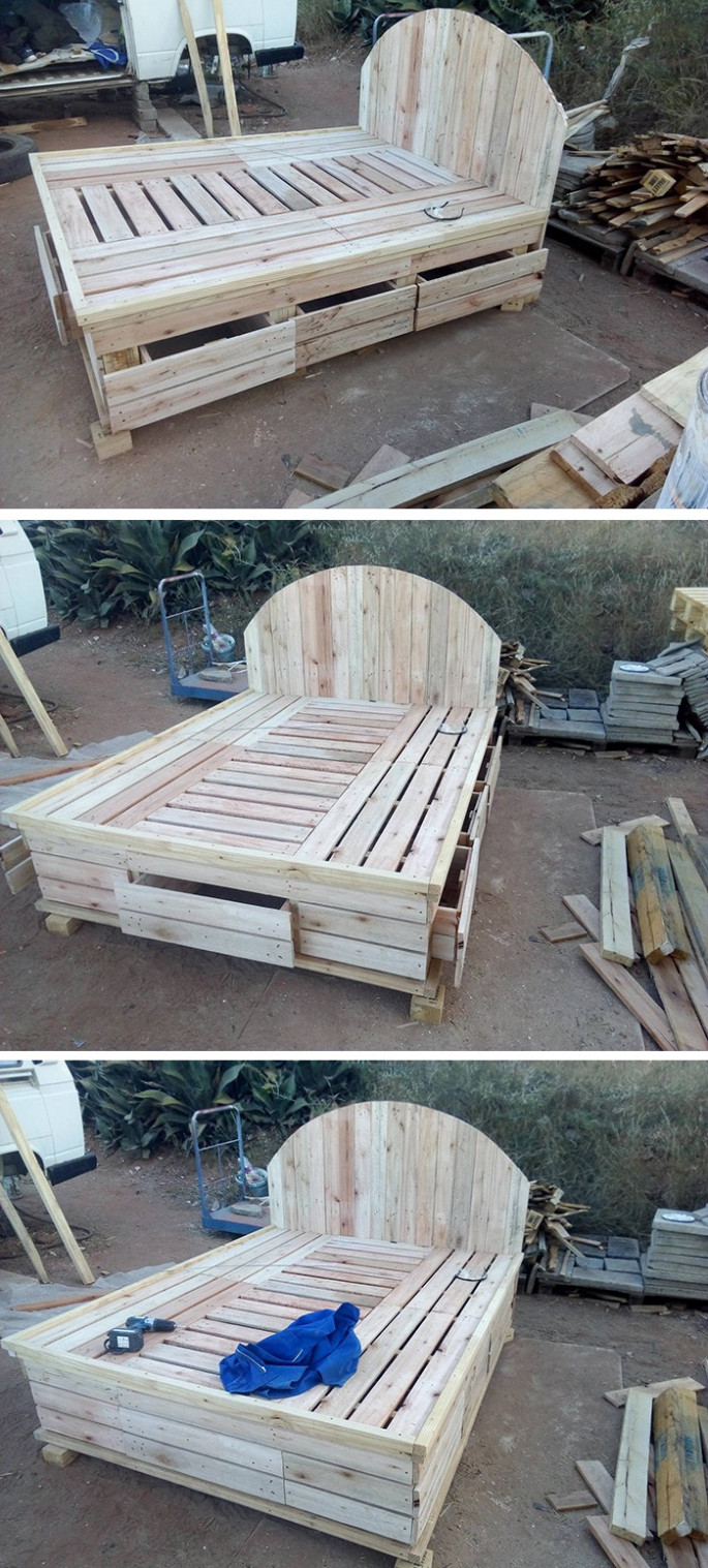 wooden pallet bed frame with storage boxes